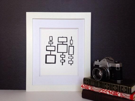 Mid Century Modern linocut Art Squares PRINT 8x10 A classic