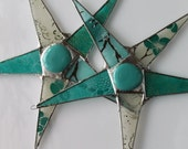 Teal Times Five- 9 inch lacquered glass star