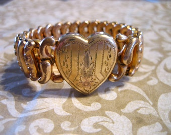 Vintage Gold Filled American Queen Pittman Keeler Sweetheart Expandable Heart Bracelet