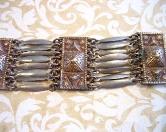 Vintage Mexico Sterling Egyptian Link Bracelet