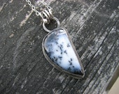 RESERVED for KYLE Dendritic Opal Necklace Merlinite Snow White and Black Stone One of a Kind Sterling Silver Metalwork Pendant Artisan