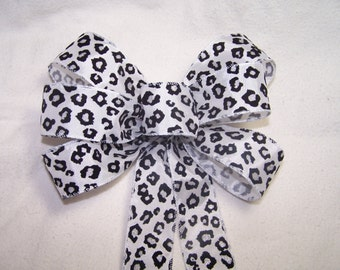 Leopard Print Bow Black White & Silver great for Wreath Pew Bow Holiday Decor Gift Party or Wedding -Christmas Batchelorette Shower