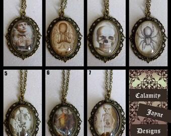 Spooky Gothic Bronze Vintage Cameo Necklaces