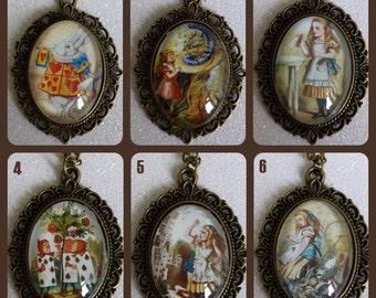 Alice in Wonderland Vintage Inspired Bronze Cameo Necklace