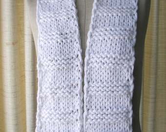 Classic Hand Knit WHITE Textured Scarf in Pure SOFT Acrylic