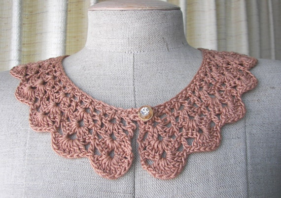 Boutique Crochet Peter Pan Lace Collar Mercerized Cotton in Copper Brown / Vintage Crystal Button/ made in USA