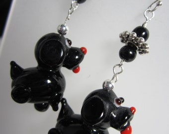 Black Dog Dangle Earrings