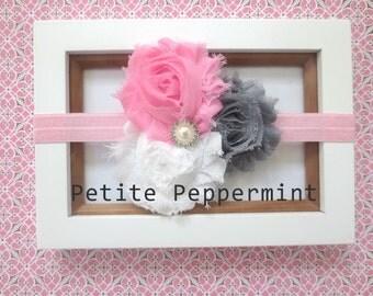 SALE - Baby headband, baby girl headband, newborn headband, toddler headband - Shabby Flower Baby Headband