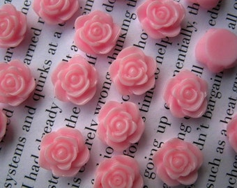 Pink Resin Flower Cabochon 12 mm