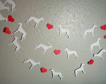 Greyhound Love Paper Garland - Valentine's Day Decor - Choose Your Colors