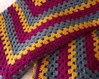 Crocheted Classic Style Granny Square Blanket in Shades of Magenta Mustard Yellow and Blue