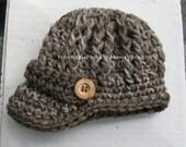 Newborn Photo prop Hat. RUSTIC WALNUT Newsboy Hat, Visor Brim Cap Hat, Textured Knit Crochet Baby Hat, Photo Shoot New Baby, Gift Photo prop