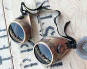 STEAMPUNK GOGGLES - Antique Gold Brass Distressed-Look Steampunk Welding Motorcycle Goggles - Burning Man Goggles