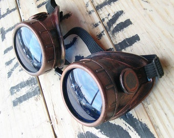 Steampunk Goggles - Antique Copper Distressed Rust Look Welding Motorcycle Goggles -Burning Man Goggles