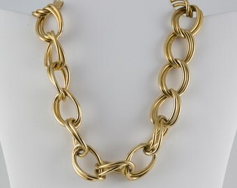 Chain link necklace, Man's Gold Large Link Chain Necklace Double links Hook to Each Other
