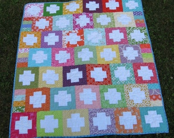 Reverse Plus Quilt ~ Fun and Colorful