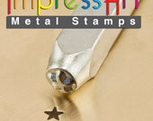 Solid Star Metal Stamp ImpressArt- 3 mm  Metal Design Stamp-Perfect for Your Hand Stamping Needs-Steel Stamps