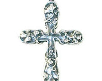 Cross-Medium Floral-Antique Silver-Approx. 1 1/2 inches long by 1 inch wide-2 Pack