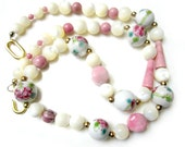 Pink Gemstone Necklace Vintage Mother of Pearl Painted Glass Necklace 20""