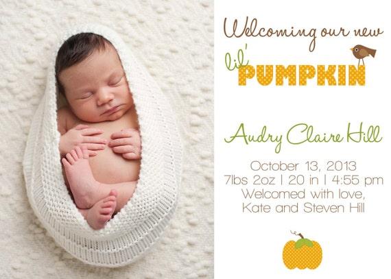 Pumpkin Birth Announcement BIRTH ANNOUNCEMENT PHOTO