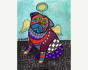 Pug art dog Poster Print of painting by Heather Galler (HG786)