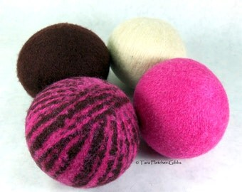 Wool Dryer Balls - Pink & Brown Zebra Dreams - Set of 4 - Eco Friendly - Can Be Scented or Unscented