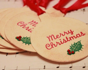 Christmas Tags (Double Layered) - Merry Christmas Tags - Holly Tags - Handmade Vintage Inspired Christmas Gift Tags - Set of 8