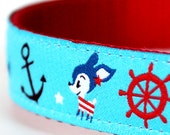 Nautical Deer Dog Collar / Ajustable Dog Collar / Anchors Preppy