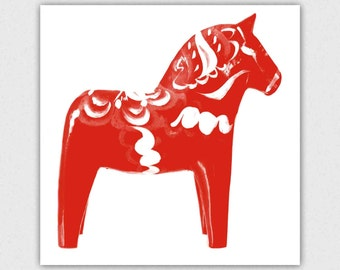 Dala Horse, Swedish, print, modern art, red and white