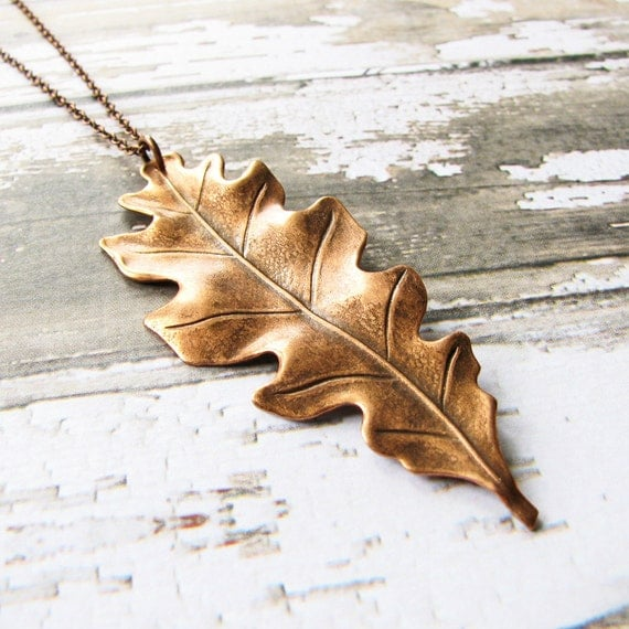 Oak Leaf Necklace, Large Antiqued Copper Plated Leaf Pendant - Long Necklace, Fall Necklace, Autumn Jewelry, Fashion Jewelry