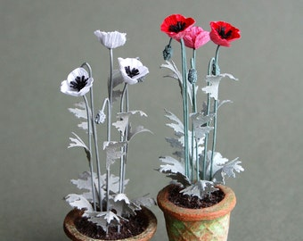 Opium Poppy  Kit  for 1/12th scale Dollhouses, Florists and Miniature Gardens