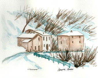 "ART Painting Original Watercolor Italian  Landscape ""TUSCANY"" Italy Italian Landscape & Scenic"