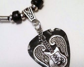Reserved for Rosie Cardinali Lauro - Qty. 4 Guitar Pick Necklaces - Gun metal - Purple - White - Turquoise - Silver Wings - Guitar Necklace
