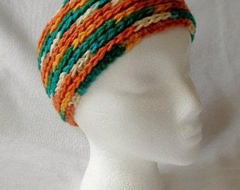 Crocheted Women's Variegated Headband Burnt Orange and Green