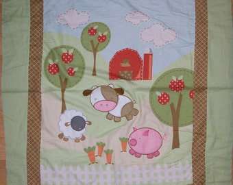 An Adorable Daisy Kingdom 3-D Applique Life On The Farm Fabric Panel Free US Shipping