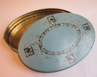 vintage turquoise collectible oval tin