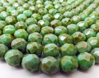 25 Czech Glass Fire Polished Beads in Opaque Turquoise Picasso  8mm Size