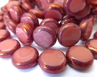 NEW COLOR   15 Czech Glass Flat Round Disc Beads in Opaque Salmon Pink with Golden Copper Picasso Edges  Size 11mm