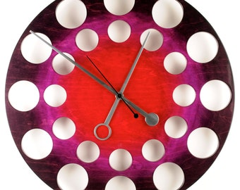 "POP Clock in Red/Purple/Black: 24"" Modern Wall Clock"