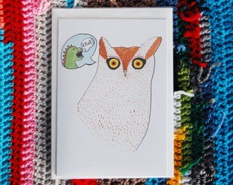 Owl saying Dinosaur saying Rawr - Illustrated Greetings Card