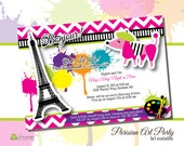 Parisian Art Party Birthday Invitation - Customized DIY