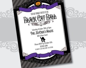 Halloween Black Cat Ball Printable Custom Party Invitations