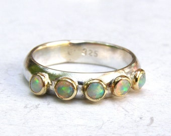 Opal ring, Wedding ring , Stackable rings, Anniversary rings, Engagement ring, Handmade ring, White opal ring ,Made to order