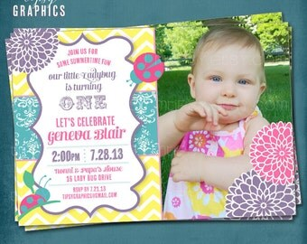 Yellow Pink Ladybug Birthday Invitation. Pink Purple Yellow Aqua Springtime Garden Birthday Party Invite by Tipsy Graphics