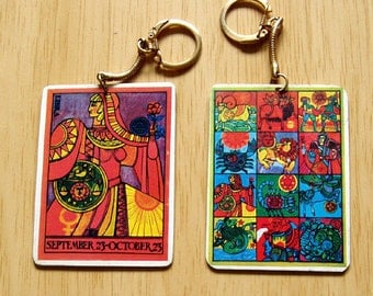 Flower Child Libra Zodiac Key Chain from the 1970's  10% off from 15.00 Exp 11/26 2017