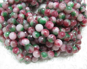 37 pcs round faceted multi color jade beads in 10mm