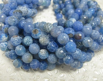 38pcs 10mm faceted blue brown agate