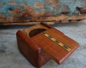 Vintage Handmade Wooden Inlaid Stamp Roll Container Box