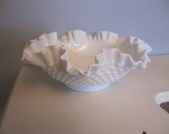 Vintage Fenton fluted hobnail milk glass bowl
