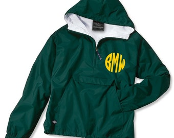 YOUTH Monogrammed Personalized Forest Green Rain Jacket Pullover - 6 colors, Monogram Rain Jacket